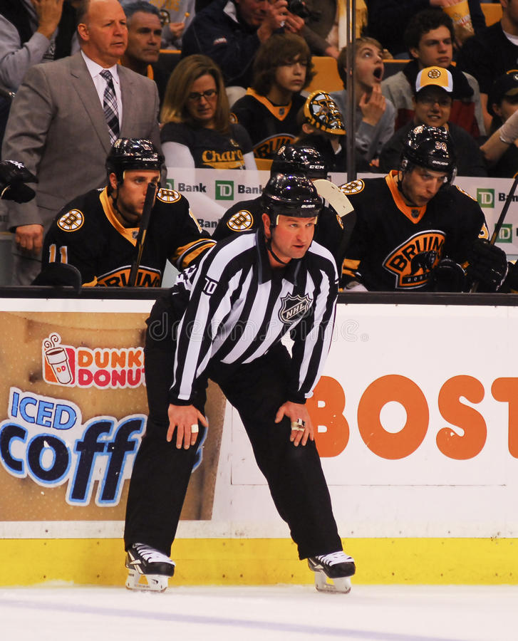 Juiz de linha do NHL de Derek Nansen imagem de stock
