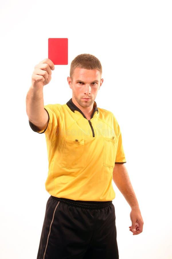 Juiz do futebol com cartão fotografia de stock royalty free