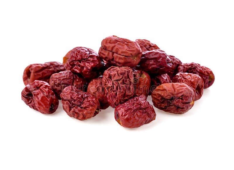 Jujuba vermelhos secos isolados no branco fotos de stock