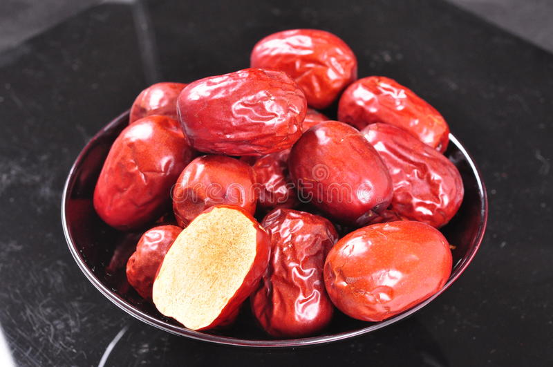 Jujubes rouges--un aliment de chinois traditionnel photo stock