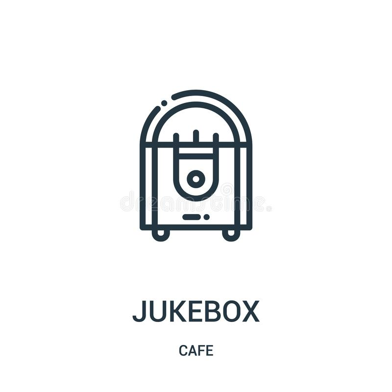 juke-boxsymbolsvektor från kafésamling Tunn linje illustration för vektor för juke-boxöversiktssymbol Linj?rt symbol vektor illustrationer