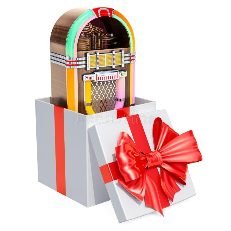 Jukebox μέσα στο κιβώτιο δώρων, έννοια δώρων τρισδιάστατη απόδοση διανυσματική απεικόνιση