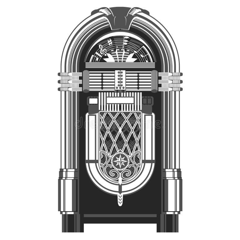 Jukebox - automated retro music-playing machine. Jukebox - automated retro music-playing device royalty free illustration