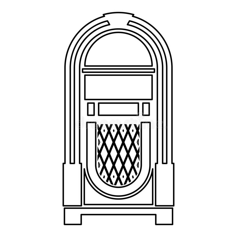 Jukebox Juke box automated retro music concept vintage playing device icon outline black color vector illustration flat style. Simple image royalty free illustration