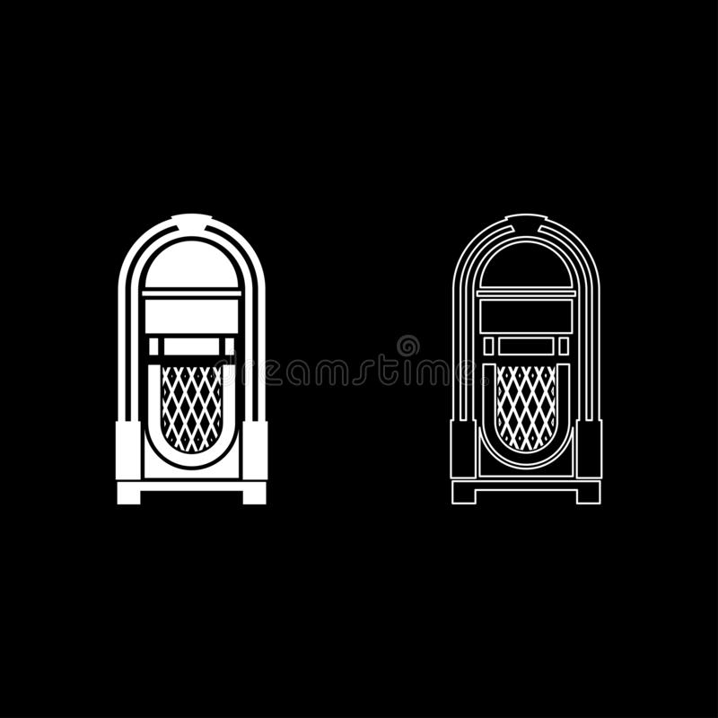 Jukebox Juke box automated retro music concept vintage playing device icon outline set white color vector illustration flat style. Simple image royalty free illustration
