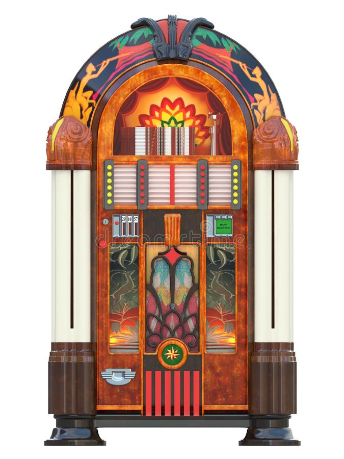 Jukebox rockola music machine. From a bar isolated 3d rendering vector illustration