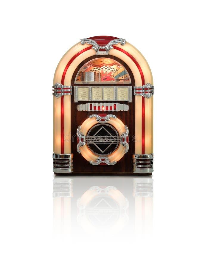 Jukebox som isoleras på vit bakgrund arkivfoton