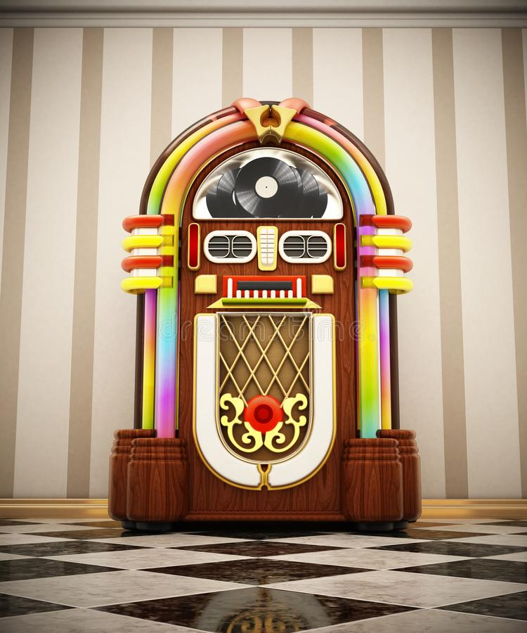 Jukebox standing on checkers ground next to the wall. 3D illustration royalty free illustration