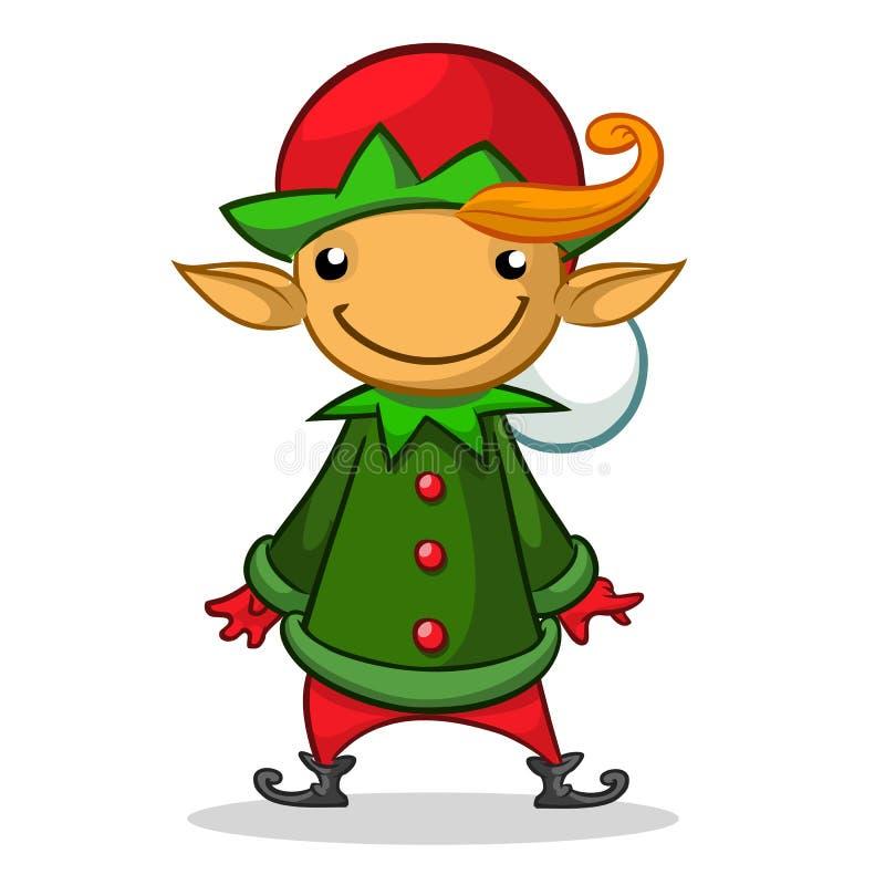Julälvatecken i röd hatt Illustration av julhälsningkortet med den gulliga älvan vektor illustrationer