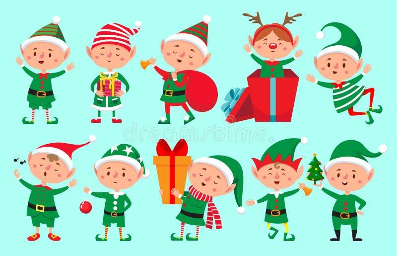 Julälvatecken Santa Claus hjälpredatecknad film, rolig isolerad teckenvektor för gulliga dvärg- älvor vektor illustrationer