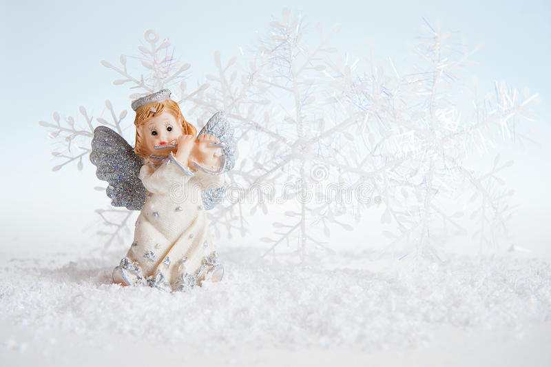Julängel på silverbakgrund royaltyfri foto