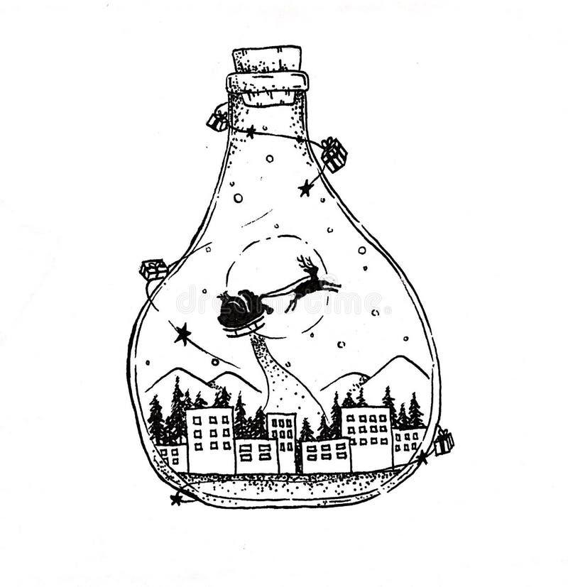 Jul önskar flaskan av att drömma stock illustrationer