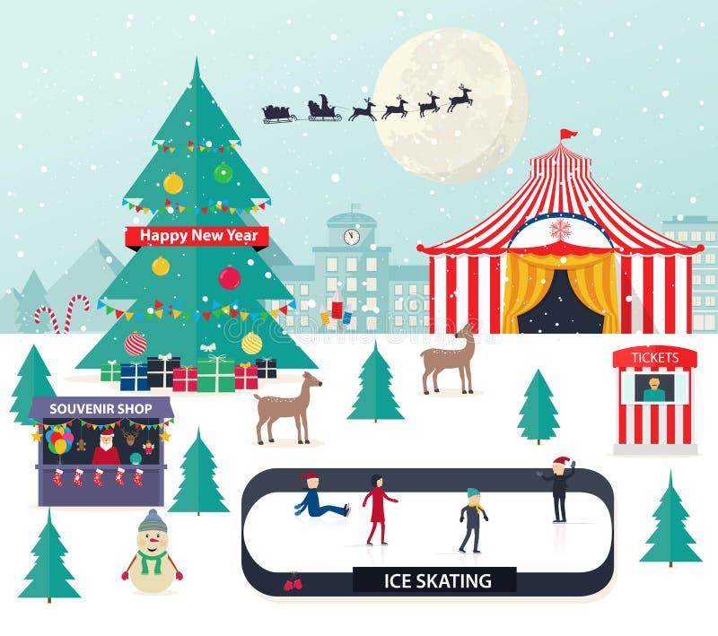 Jul övervintrar bakgrund med med trädet för det nya året vektor illustrationer
