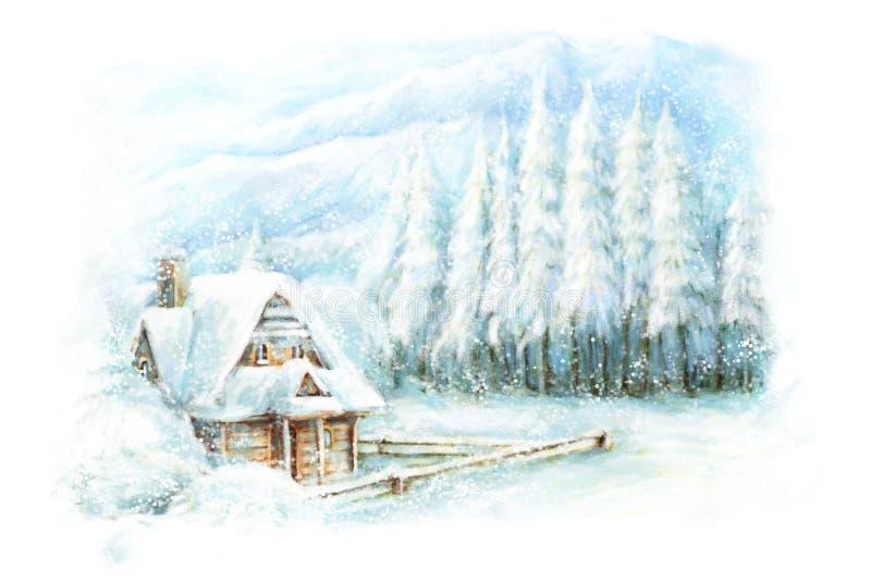 Jul övervintrar lycklig plats vektor illustrationer