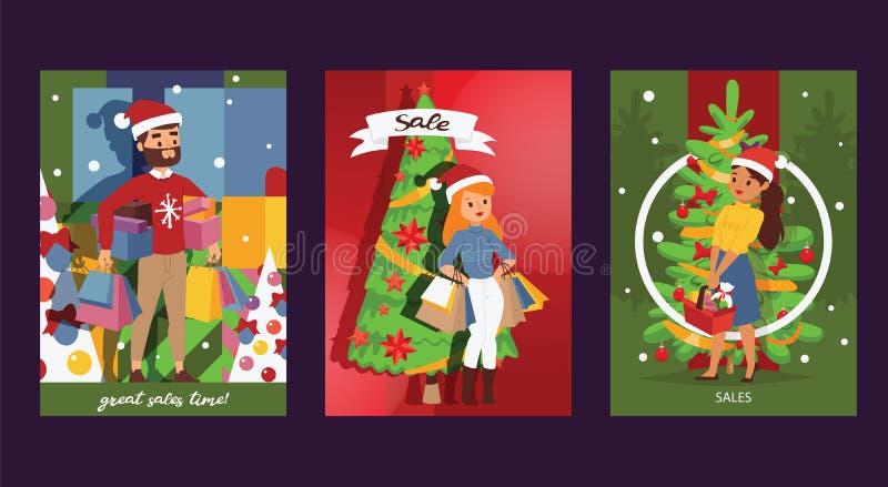 Jul övervintrar mannen för familjen för leendet för försäljningsvektorn den lyckliga med för shoppingpåsar för kvinnan som tillsa stock illustrationer