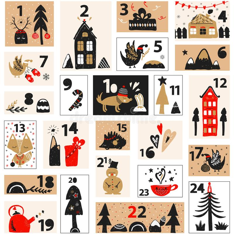Jul Advent Calendar stock illustrationer