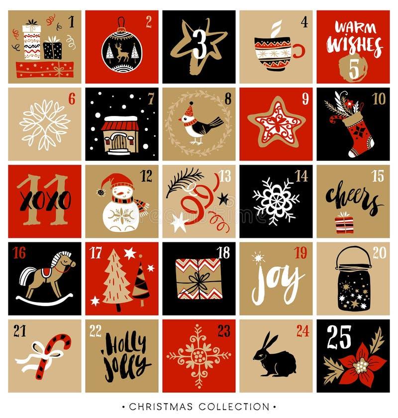 Jul Advent Calendar design tecknad elementhand royaltyfri illustrationer
