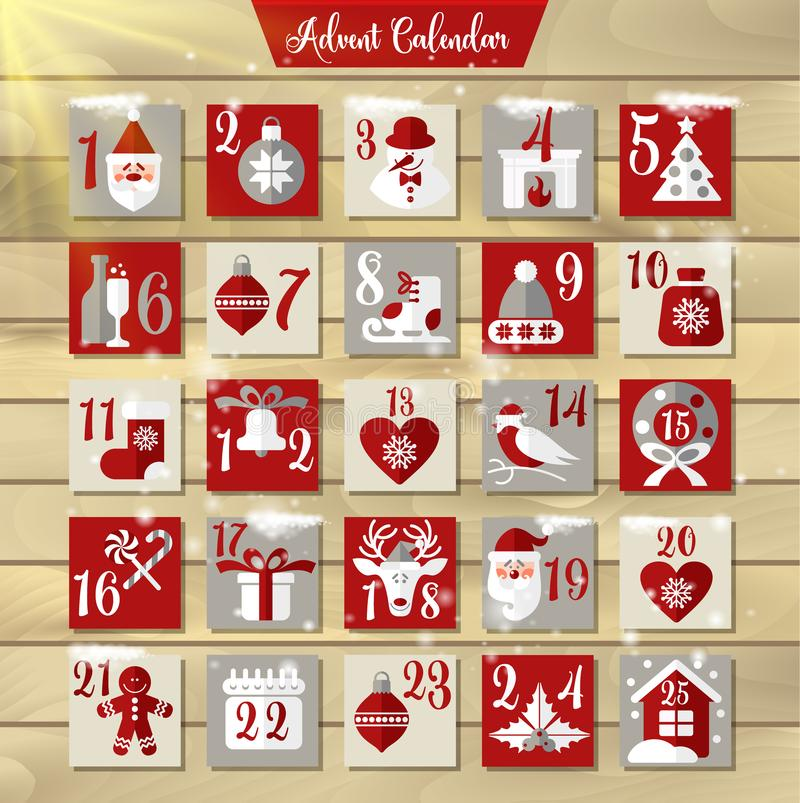 Jul Advent Calendar eller affisch Beståndsdelar för design för vinterferier Nedräkningkalender royaltyfri illustrationer