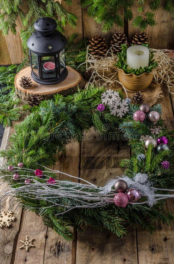 Jul Advent Wreath arkivbilder