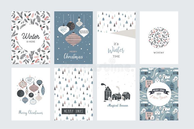 Jul affisch och hälsningkort i retro stil Jul klumpa ihop sig i pastellfärgade färger, vinterlandskap och slags tvåsittssoffahus