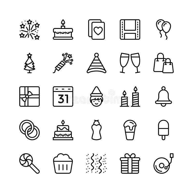 Jul-, allhelgonaafton-, parti- och berömlinje vektorsymboler 18 stock illustrationer