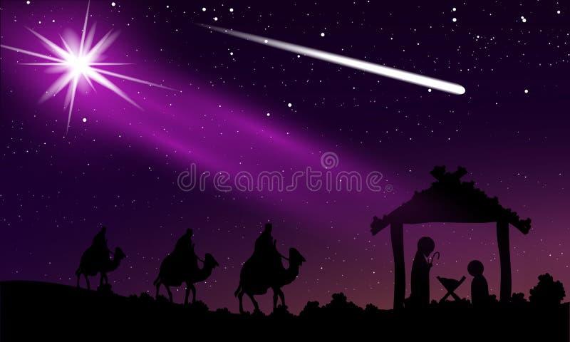 Jul av Jesus och komet i den stjärnklara himlen för natt royaltyfri illustrationer