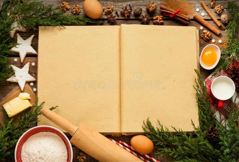 Jul - baka kakabakgrund med degingredienser fotografering för bildbyråer