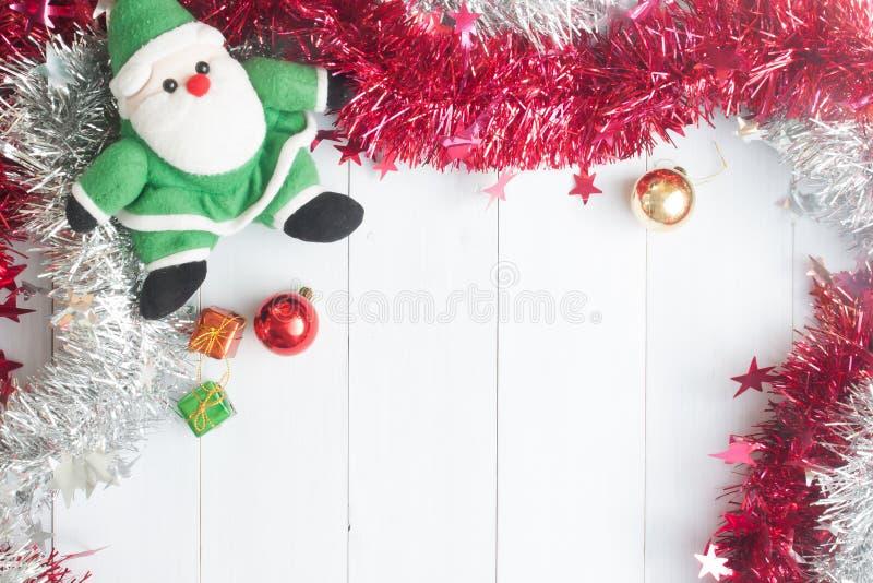 Jul bakgrund, prydnadgåvaaskar, tillbehör på woode fotografering för bildbyråer