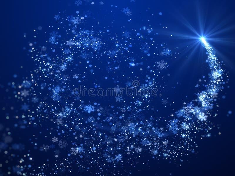 Jul bakgrund, snöflingor och blått tema för stjärna stock illustrationer