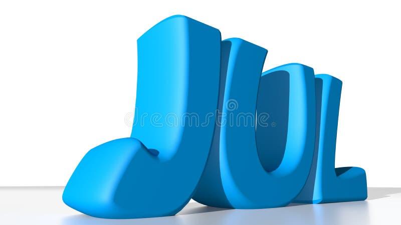 Jul blue. JUL in blue letters, stays for July in the calendar vector illustration