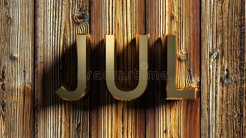 JUL brass write on raw wooden background - 3D rendering. The write JUL - that stays for JULY - written with brass letters laying on a raw wooden background - 3D vector illustration