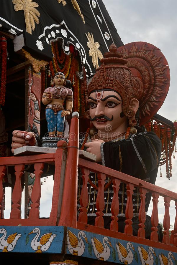 Subhadra's Chariotthe smallest of the chariots canopy color : black and red in Jagannath Rath Yatra puri. 24-jul-2007-charioteer is known as Arjuna royalty free stock photos