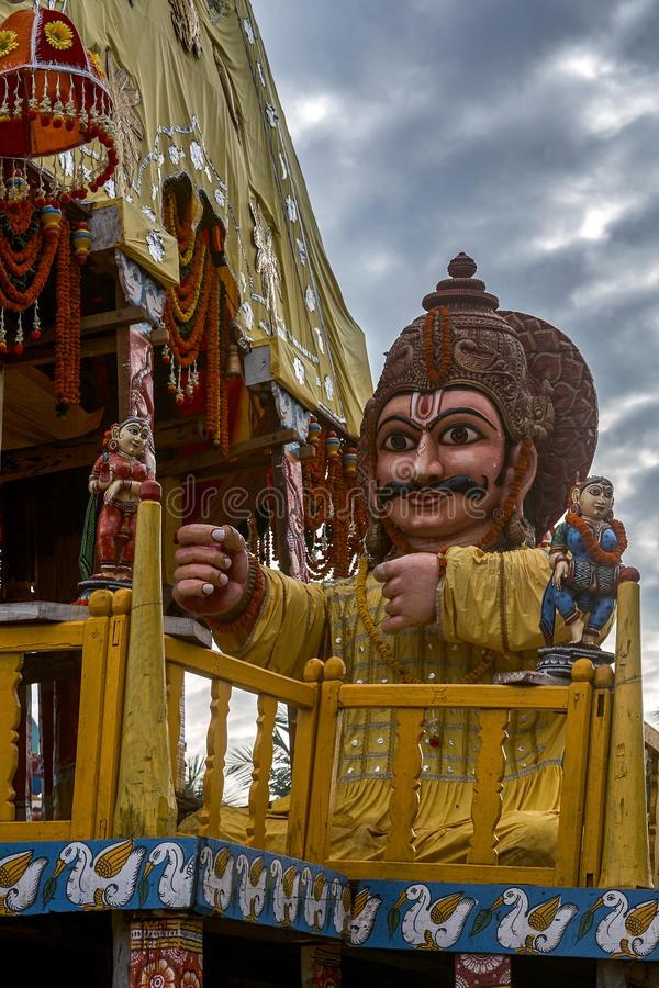 Lord Jagannath's Chariot Taladhwaja canopy color : yellow and red in Jagannath Rath Yatra puri. 24-jul-2007-charioteer is known as Daruka Lord Jagannath stock photography