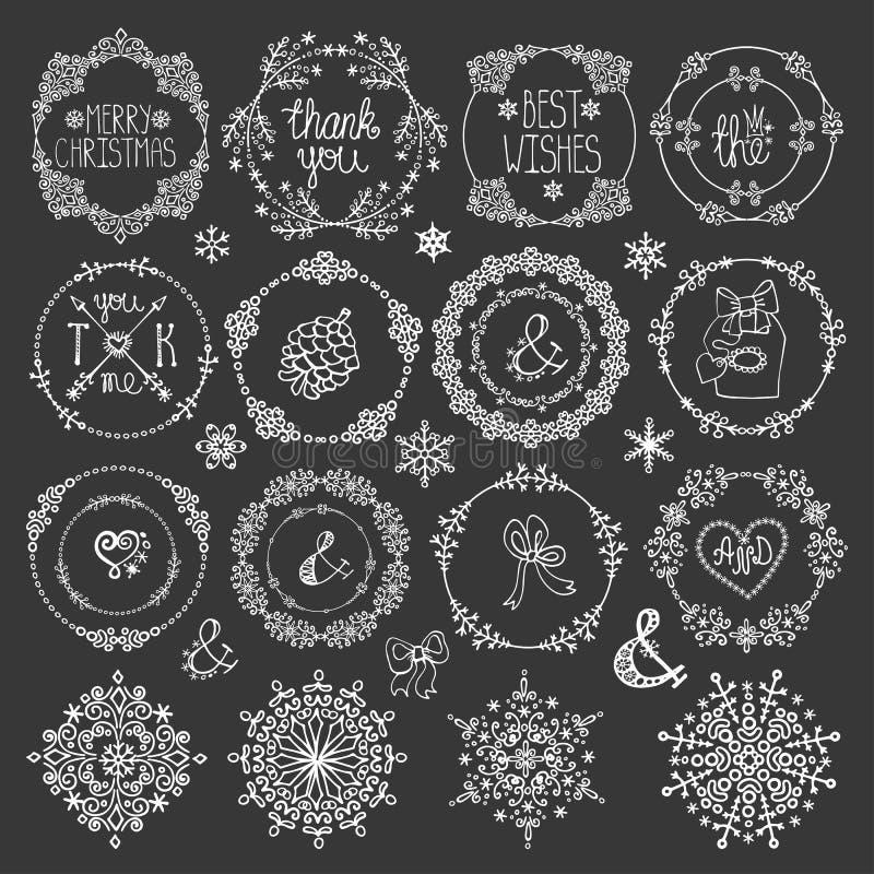 Jul dekor för nytt år Uppsättning för vintercirkelramar stock illustrationer