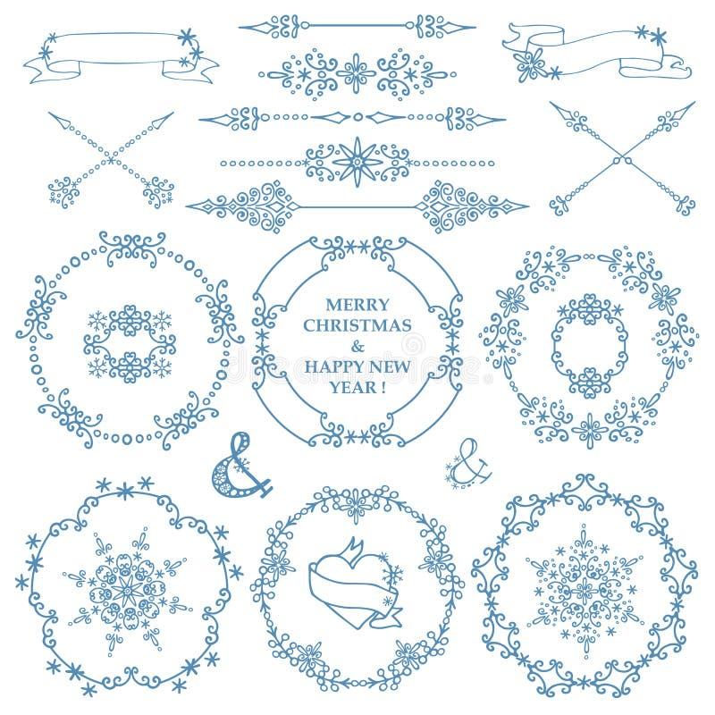 Jul dekoruppsättning för nytt år Vintern inramar kransen stock illustrationer