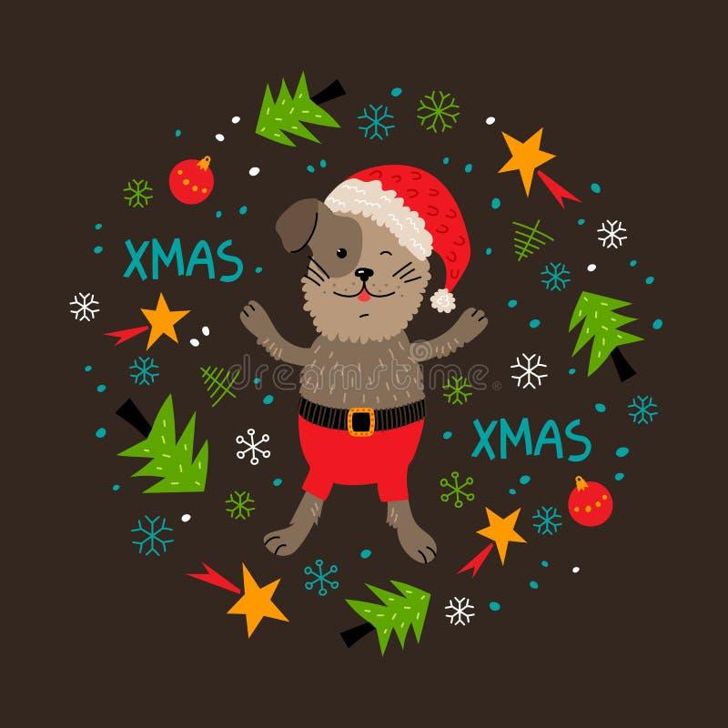 Jul dog, dragen stil för hälsningkortet den unika handen, Xmas-valpen, djur Rolig tecknad filmjulhund vektor royaltyfri illustrationer