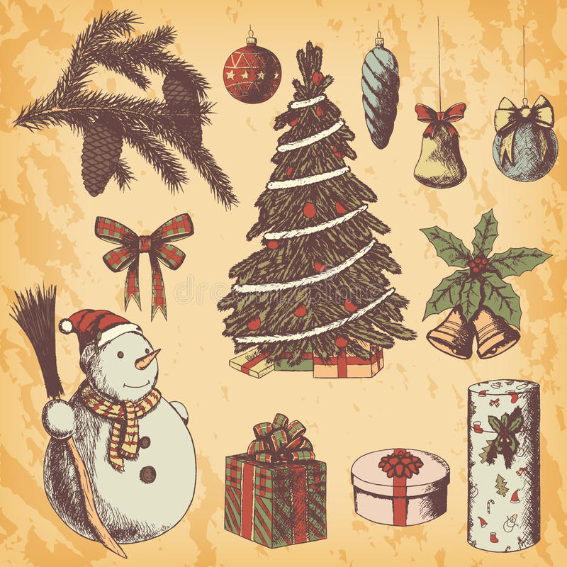 Jul eller den drog handen för nytt år färgade vektorillustrationen Attribut och symboler skissar, tappningstil, snögubben, gran royaltyfria foton