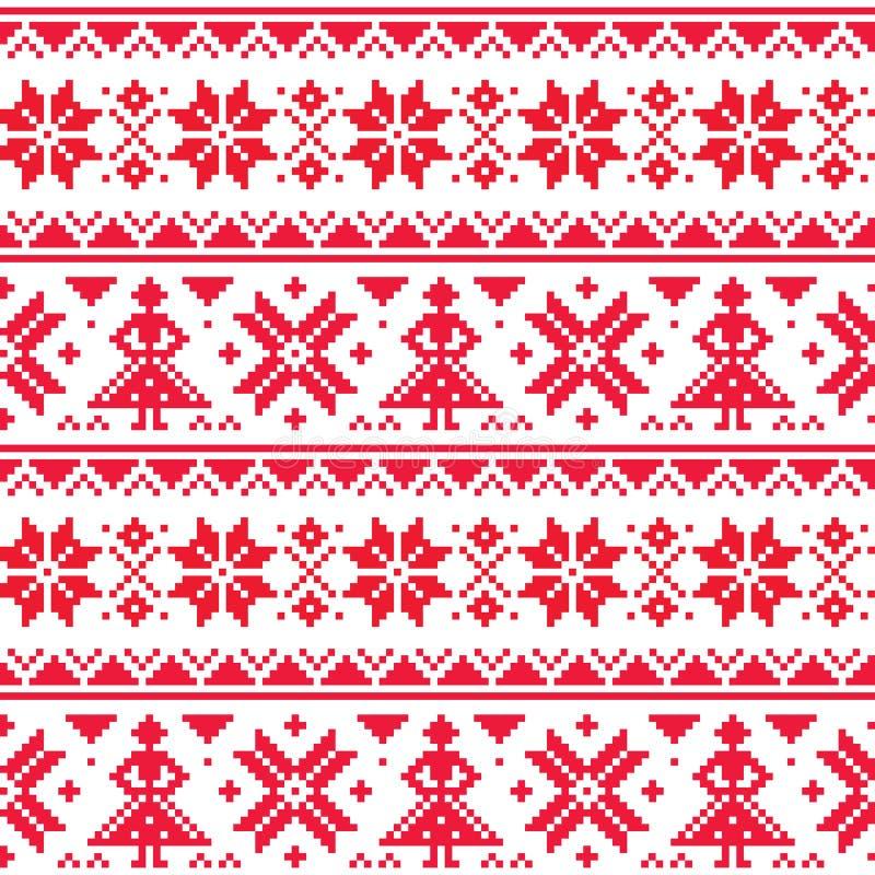 Jul eller den sömlösa modellen för vintervektor som är inspirerad vid Sami Lapland folkkonst, traditionellt handarbete och broder vektor illustrationer