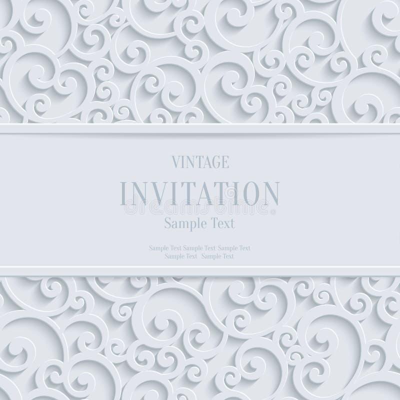 Jul eller inbjudan för tappning 3d för vektor Cards den vita bakgrund med den damast modellen för virveln vektor illustrationer