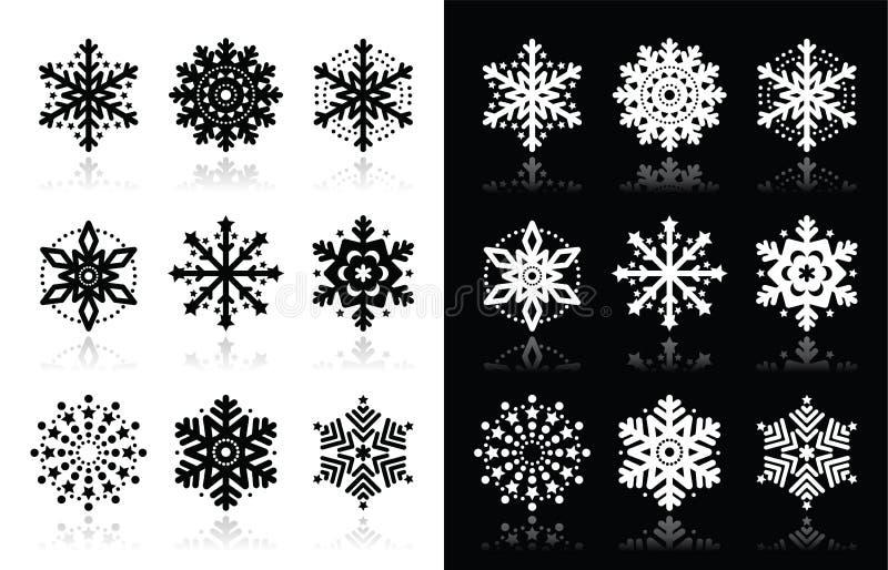 Jul- eller vintersnöflingasymboler royaltyfri illustrationer