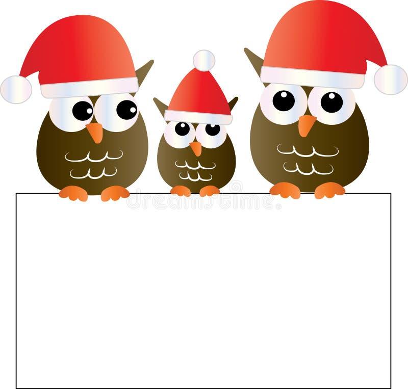 Jul en söt familj för små ugglor som rymmer ett tecken royaltyfri illustrationer
