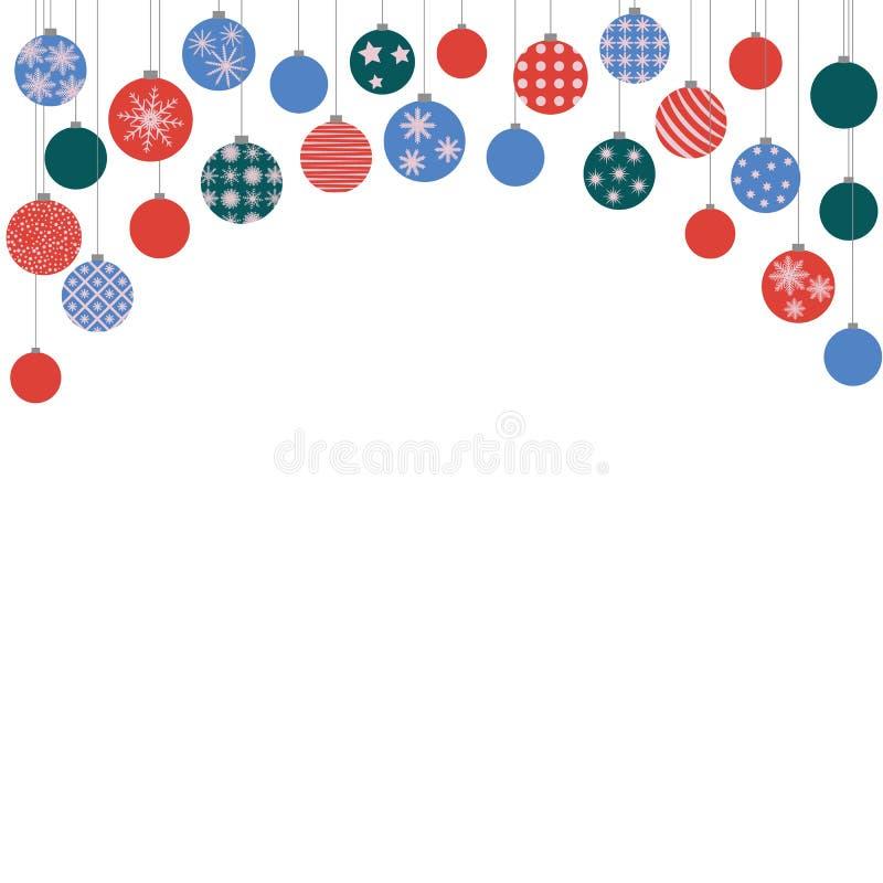 Jul färgade bollar som hänger från över royaltyfri illustrationer