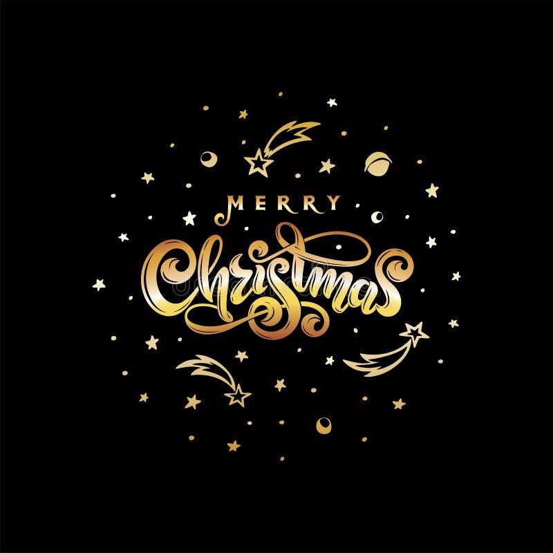 Jul för guld- text för vektor isolerad glad Svart kosmisk form för rund boll Handskriven festlig märka gåvavykort vektor illustrationer