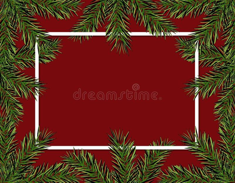 Jul för nytt år Den gröna granen förgrena sig i en cirkel på en röd bakgrund Ram för annonsering och annonser isolerat vektor illustrationer