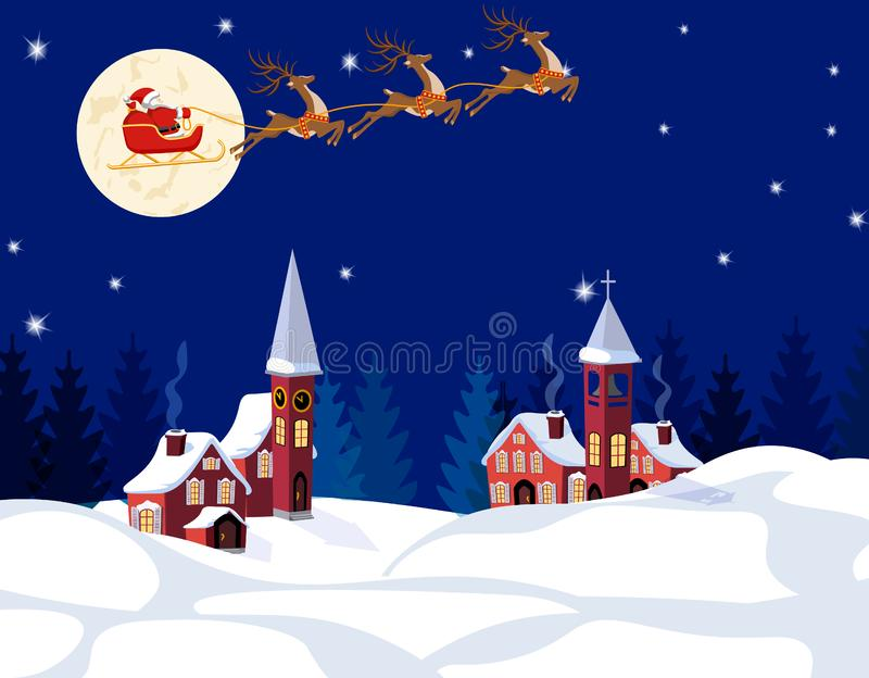 Jul för nytt år En bild av Santa Claus och hjortar Övervintra staden på helgdagsaftonen av det nya året Snö måne, stjärnor royaltyfri illustrationer
