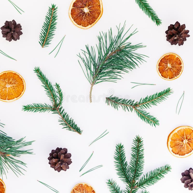 Jul för nytt år Xmas för den bästa sikten för modellen plan som lekmanna- semestrar handgjord hemslöjdtextur med granträdet, sörj arkivfoton