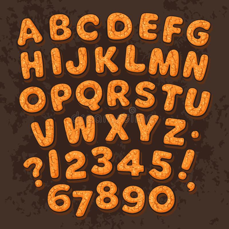 Jul för pepparkakakakor för nytt år som alfabet isoleras på mörk chokladbakgrund Tecknad filmbokstäver och nummer stock illustrationer