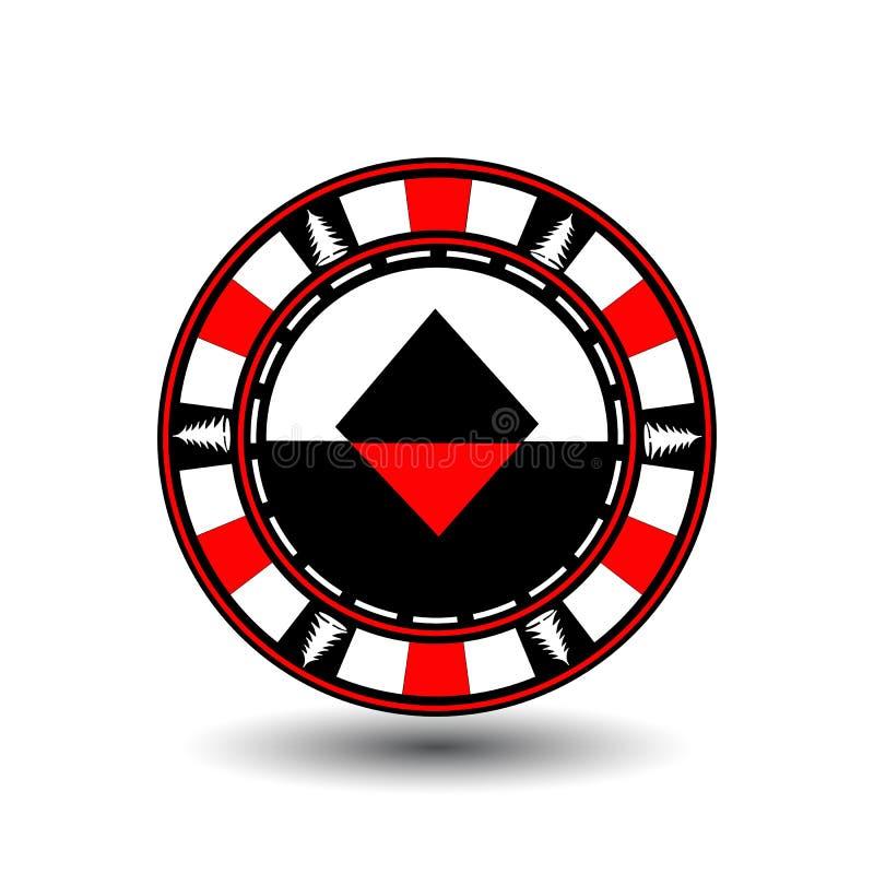 Jul för pokerchip Rött Med diamantdräkten i mitt och på sidorna av trädillustrationen Bruk för platsen, tryck royaltyfri illustrationer