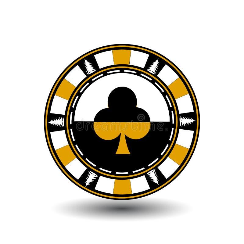 Jul för pokerchip yellow Med klubbadräkten i mitt och på sidorna av trädillustrationen Bruk för platsen, p vektor illustrationer