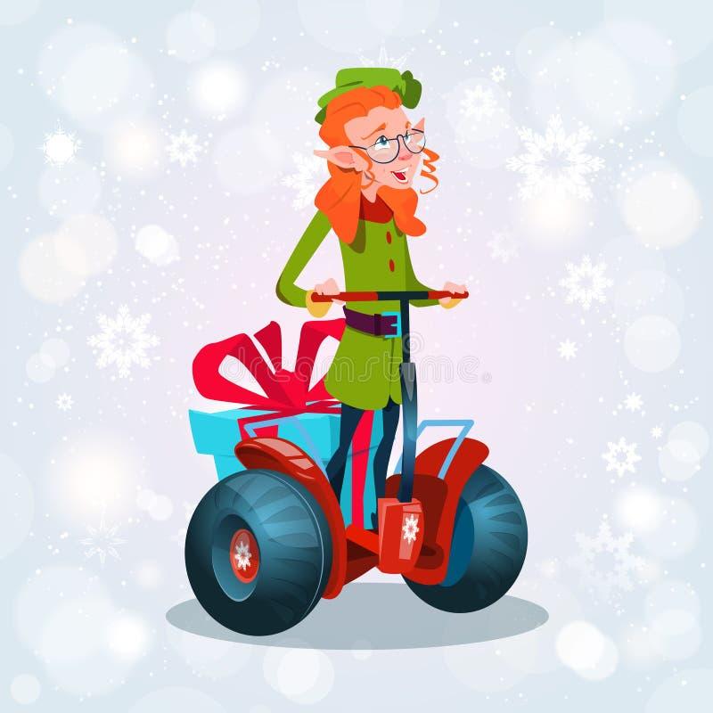 Jul för sparkcykel för grön älvaritt semestrar elektrisk hälsningkortet för det lyckliga nya året stock illustrationer